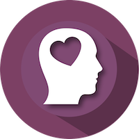 Heart in brain icon